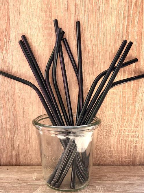4 Pailles inox noir 21 cm, courbées ou droites, zéro déchet