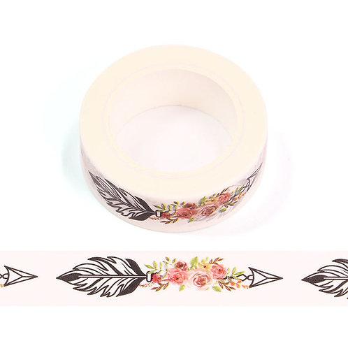 W558 - Masking tape 15 mm motif flèche et roses