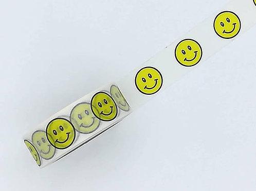 W373-  Masking tape feuilles smiley jaune yellow washi tape