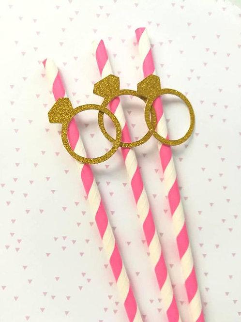 Pailles solitaire paillettes dorés rayures rose evjf anniv