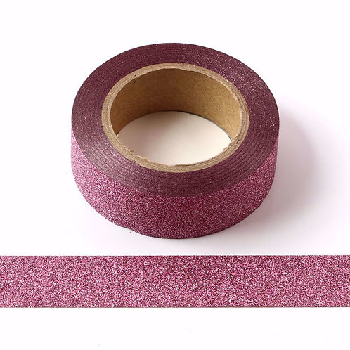Masking tape paillettes rose glitter 15mm x 5m