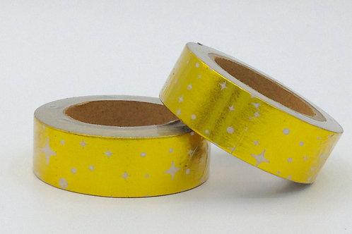 F003 - Masking tape Foil Doré Etoile Blanche
