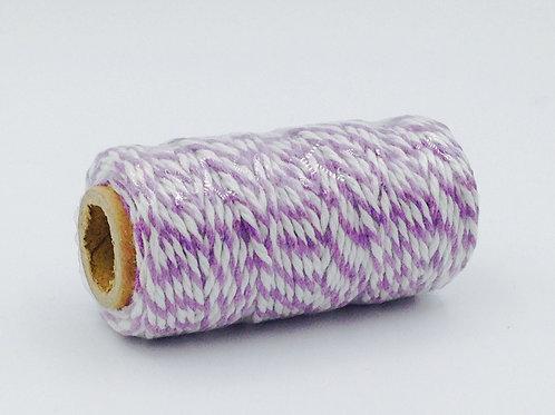 BT007 - Bobine de 20m de Baker's Twine violet/blanc 12 plis