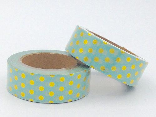F057 - Masking tape foil vert pois dorés