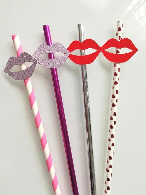 Pailles kiss bouche paillettes rose ou rouge