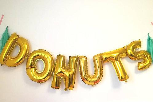 Ballons bannière DONUTS Mylar dorée or suspension soirée fête