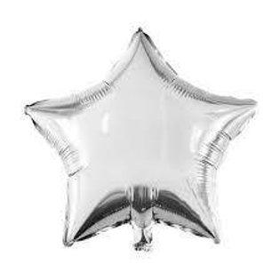 Ballon aluminium mylar  étoile argent 45 cm - remplissage hélium