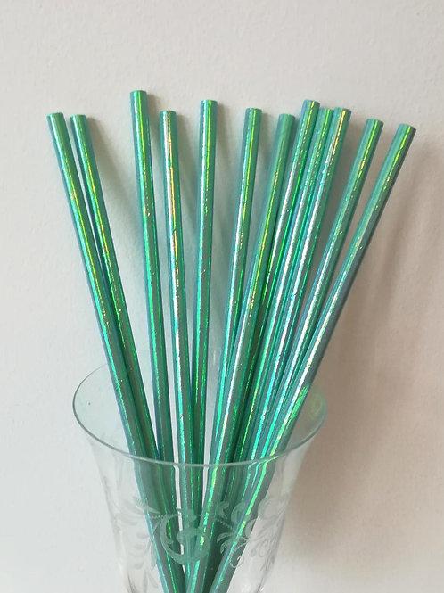 25 pailles papier iridescente bleu vert