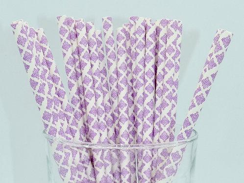 25 pailles papier damask violet