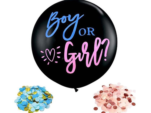 Kit Ballon  noir opaque gender reveal fille ou garçon,  confettis roses
