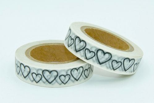 W006- Masking tape coeurs noirs 10mm