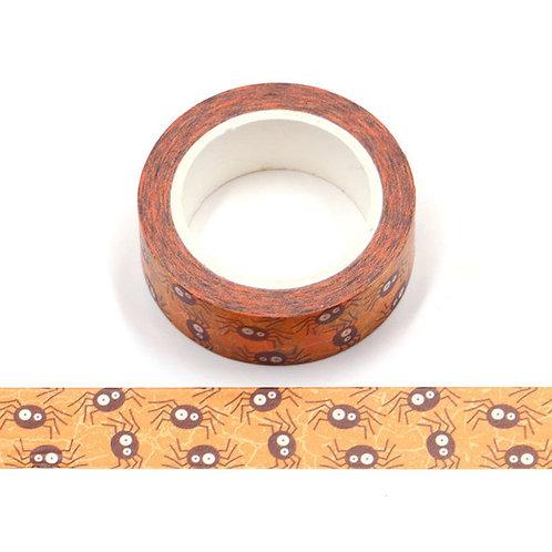 W519 - Masking tape orange araignées noires Halloween