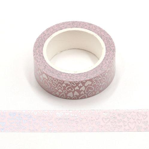 F150 - Masking tape foil rose coeur argent