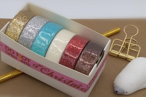 Boite de 6 masking tape glitter