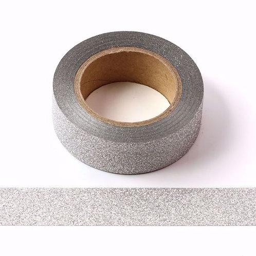 Masking tape paillettes argentées glitter 15mm x 10m