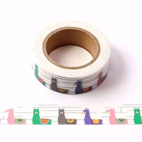 Masking tape lamas multicolores