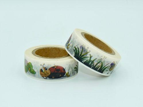 W117 - Masking tape coccinelle jardin enfant 15mm x 10m