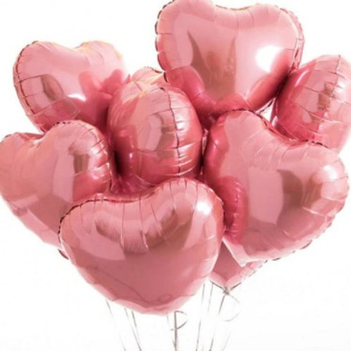 Ballon aluminium  mylar coeur rose  - remplissage hélium