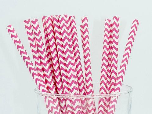 25 pailles papier chevrons rose framboise  anniversaire candy