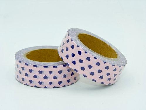 W283 - Masking tape fond rose coeurs violets