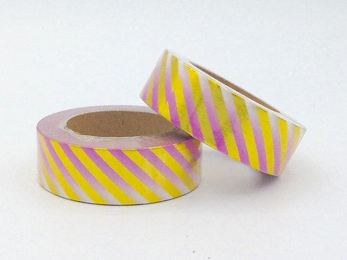 F088- Masking tape foil rose fondu rayures dorées