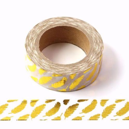 F073- Masking tape métallique 15mm foil blanc plumes dorées