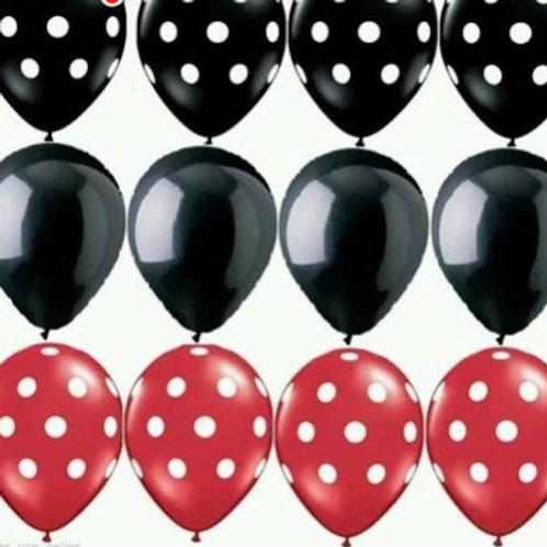 12 Ballons latex noir rouge pois blancs anniversaire thème souris