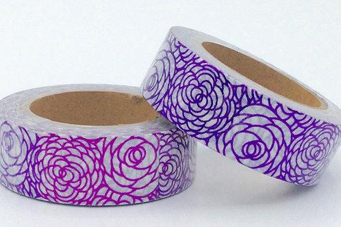 F071- Masking tape foil blanc fleurs violettes