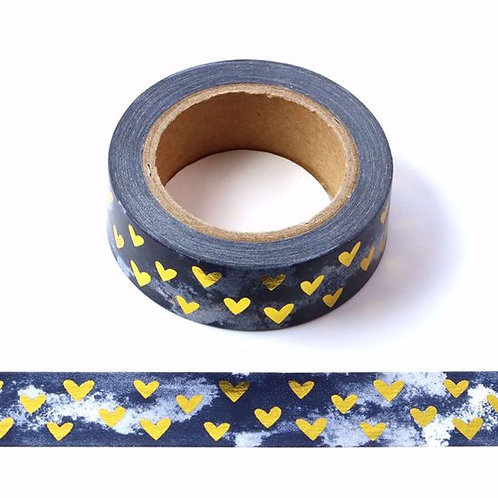 Masking tape métallique marbre coeur dorés fond aquarelle noir