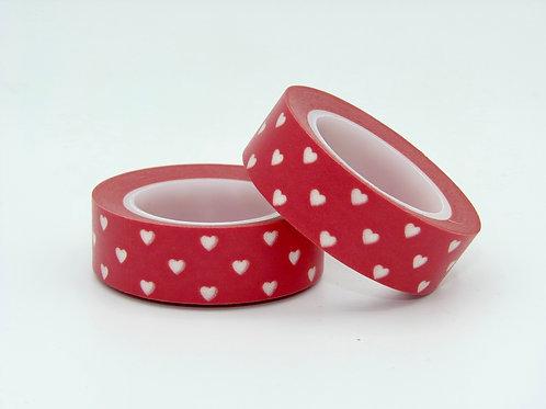 W151 - Masking tape rouge coeur blanc