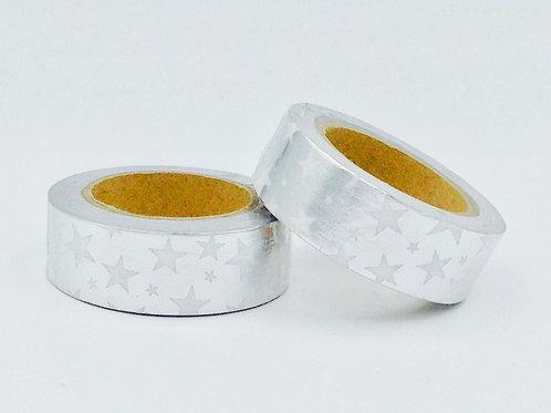 F029 - Masking tape foil argent étoiles blanches