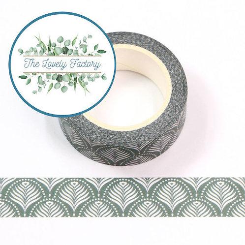 Masking tape motif empreinte floral verte  15mm x 10m