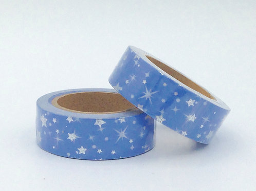F078- Masking tape foil bleu étoiles argentées