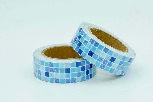 W294- Masking tape carreaux bleus