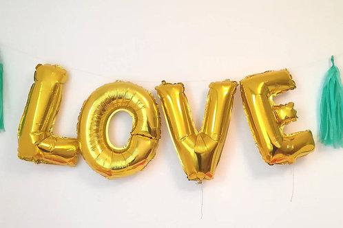 Ballons bannière LOVE Mylar dorée or suspension mariage fiançailles