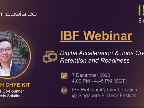 Chye Kit Will Be Speaking At A Panel By IBF At The Upcoming Singapore FinTech Festival!