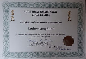 Reiki Certificate