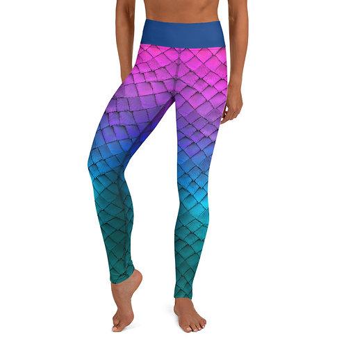 Mermaid Yoga Leggings - pink blue