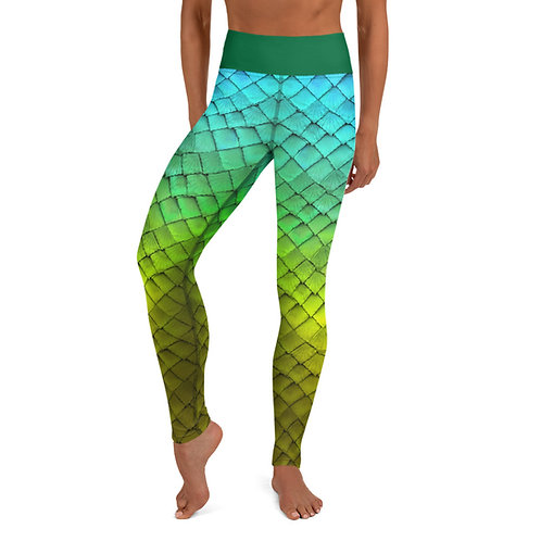 Mermaid Yoga Leggings - blue green
