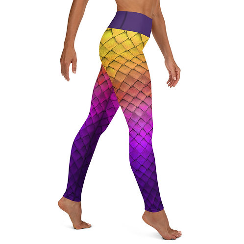 Mermaid Yoga Leggings - purple yellow