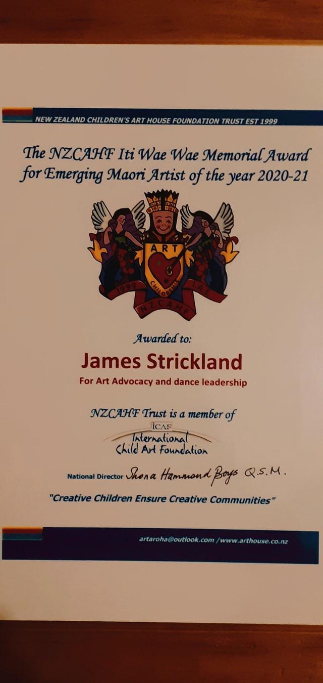 The NZCAHF Māori Emerging Artist of 2020 - James Strickland