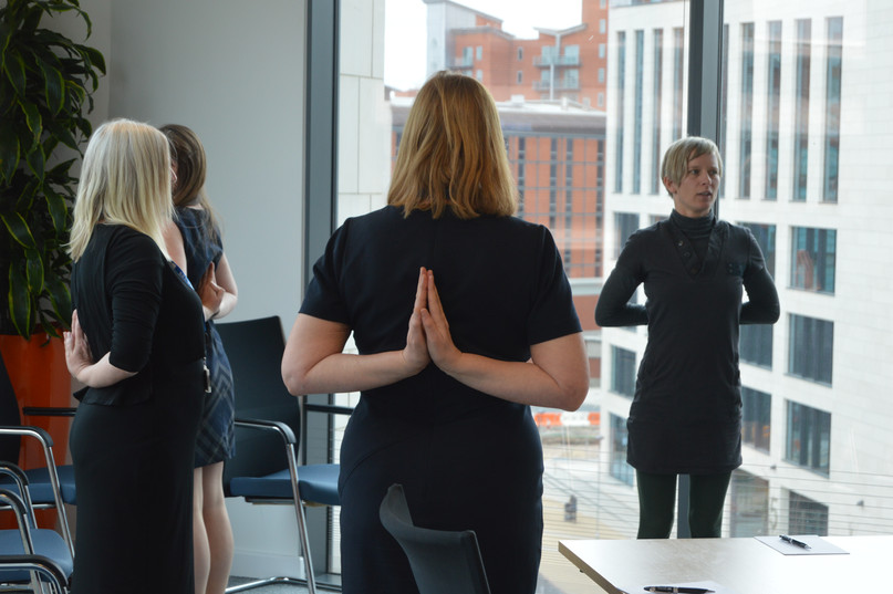 Leeds Wellbeing Week 2017 - Yoga session in the workplace - copyright Mind It Ltd