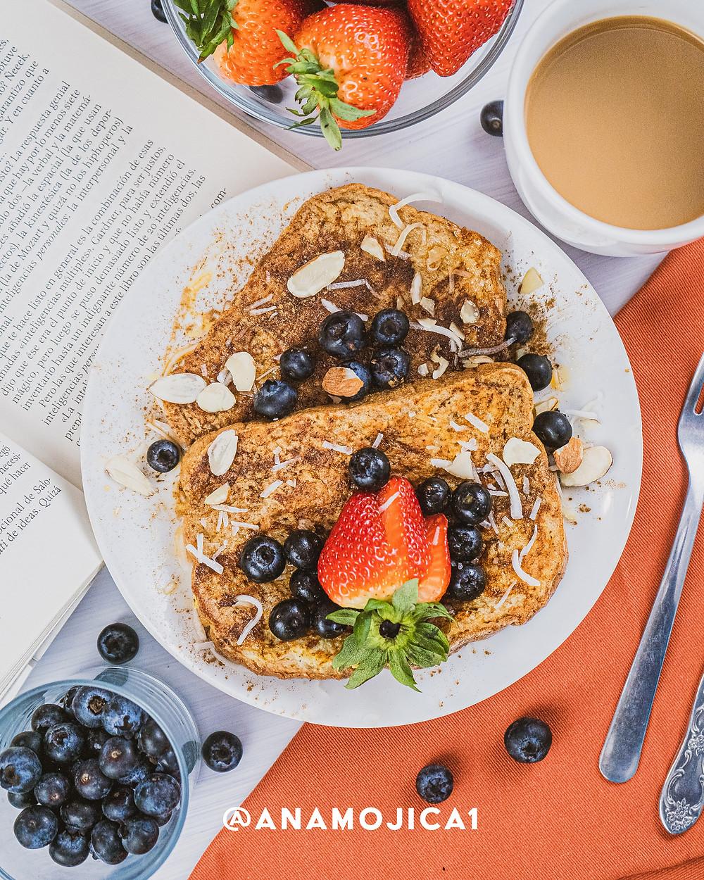 idea de platillo comida desayuno saludable pan francés delicioso y nutritivo
