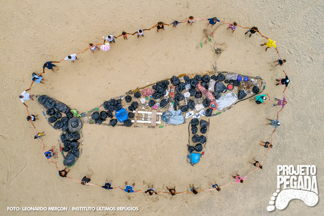 """Ação de limpeza nas praias de Vitoria-ES recolhe, em uma manhã, um """"baleia de lixo""""."""
