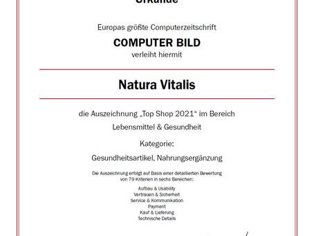 """Qualitätssiegel """"Top Shop 2021"""" für Natura Vitalis"""