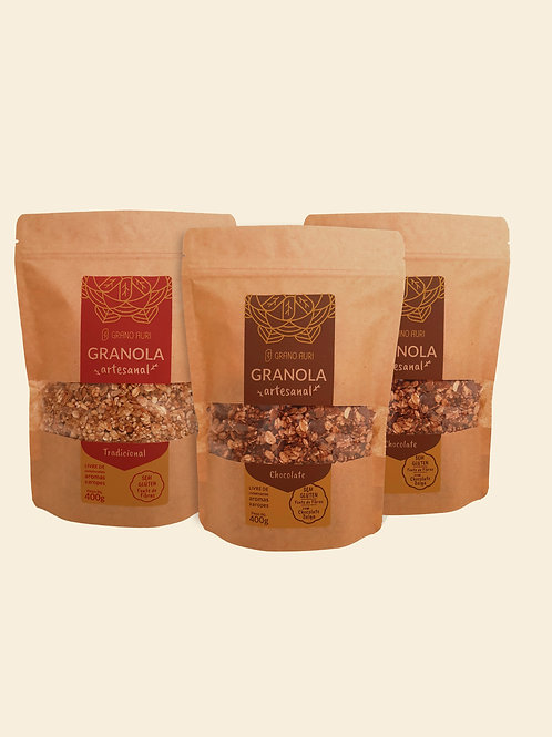 Kit 2 Granolas Chocolate Belga +1 Granola Tradicional