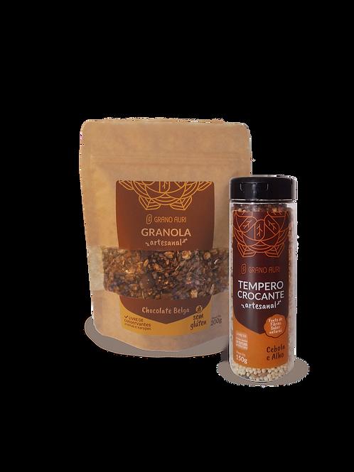 Kit Granola 200g Chocolate Belga sem glúten + Tempero Crocante