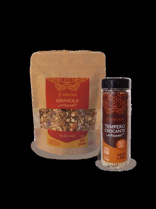 Kit Granola 200g Tradicional sem glúten + Tempero Crocante