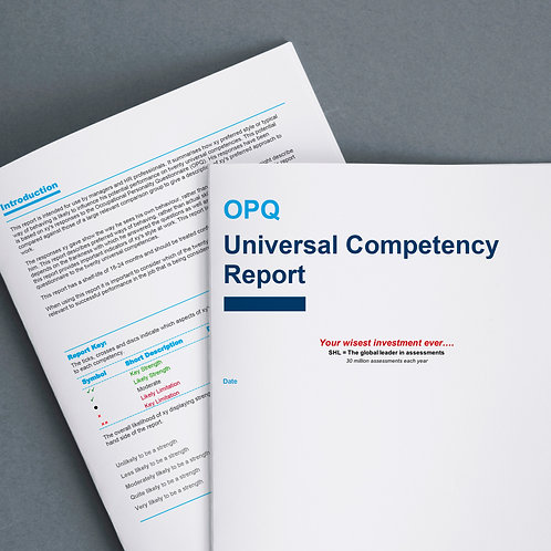 Online competency profiling (OPQ)  + comprehensive report