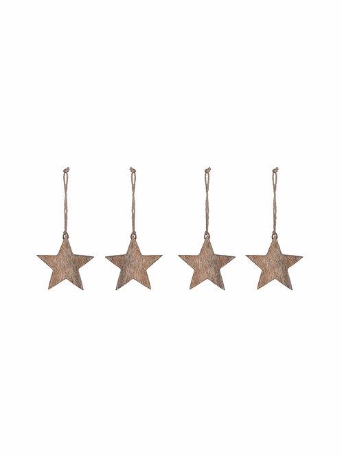 Set of 4 Wooden Stars